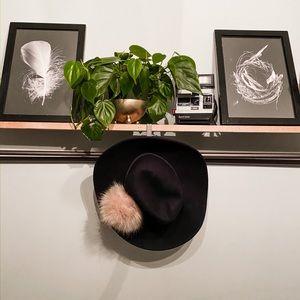 Anthropologie Navy Luxe Pom Pom Trim Hat